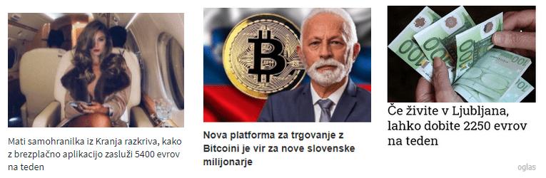 Na fotografiji primer lažnih oglasov v spletnih medijih (vir: varninainternetu.si)